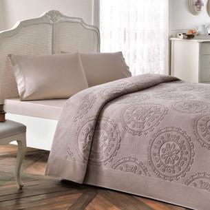 Постельное белье с махровой простынью-покрывалом Tivolyo Home ALFREDO хлопок коричневый евро
