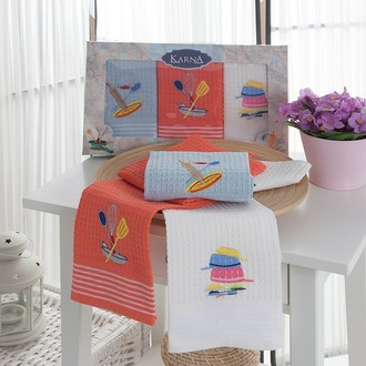 Набор кухонных полотенец 40*60(3) Karna KLORA хлопковая вафля