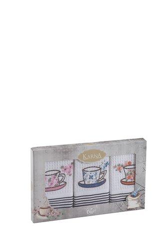 Набор кухонных полотенец 40х60 3 шт. Karna FLORS хлопковая вафля, фото, фотография