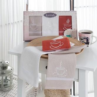 Набор кухонных полотенец 40*60(3) Karna TINA хлопковая вафля