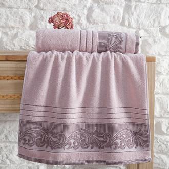 Полотенце для ванной Karna MERVAN хлопковая махра пудра