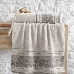 Полотенце для ванной Karna MERVAN хлопковая махра бежевый 50х90