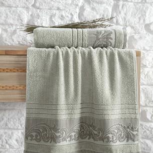 Полотенце для ванной Karna MERVAN хлопковая махра зелёный 70х140