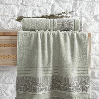 Полотенце для ванной Karna MERVAN хлопковая махра зелёный
