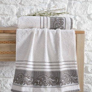 Полотенце для ванной Karna MERVAN хлопковая махра кремовый 70х140