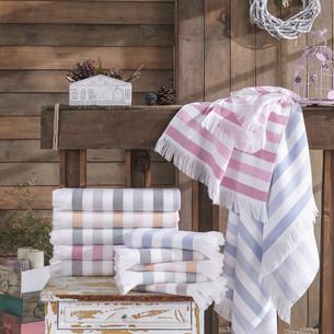 Банное полотенце пештемаль Hobby Home Collection STRIPE хлопок розовый 70х140