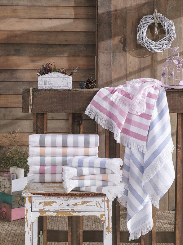 Банное полотенце (пештемаль) Hobby Home Collection STRIPE хлопок (розовый) 70*140, фото, фотография