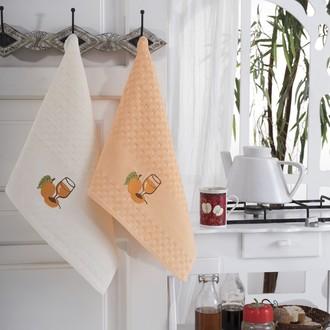Подарочный набор полотенец для кухни 45*66(2) Karna FESTIVAL хлопковая вафля (V4)