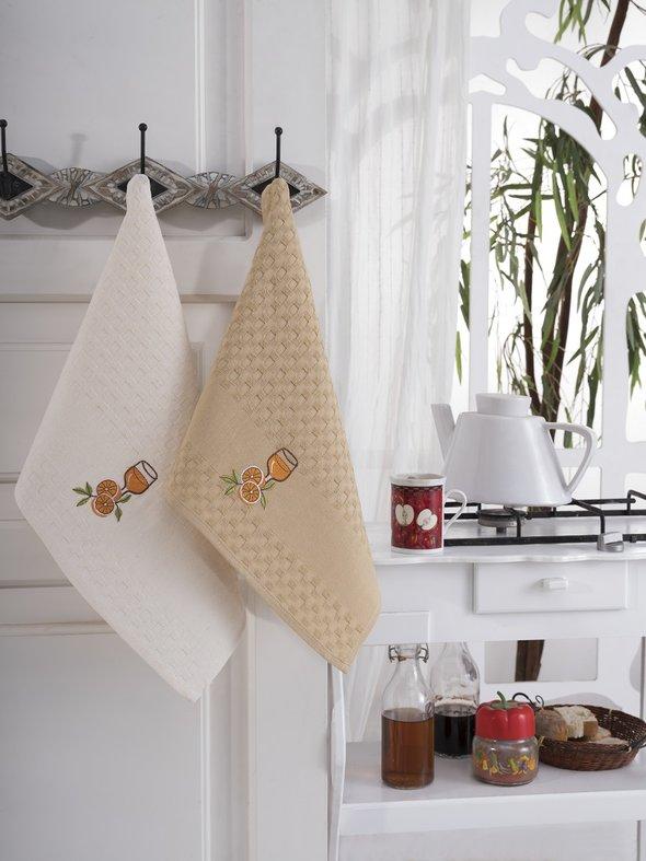 Подарочный набор полотенец для кухни 45*66(2) Karna FESTIVAL хлопковая вафля (V5), фото, фотография