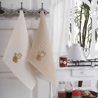 Подарочный набор полотенец для кухни 45*66(2) Karna FESTIVAL хлопковая вафля (V3)