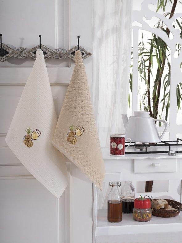 Подарочный набор полотенец для кухни 45*66(2) Karna FESTIVAL хлопковая вафля (V3), фото, фотография