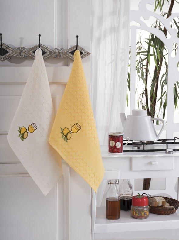Подарочный набор полотенец для кухни 45*66(2) Karna FESTIVAL хлопковая вафля (V7), фото, фотография