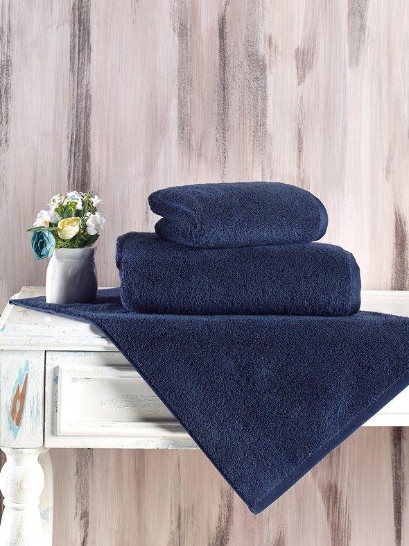 Полотенце для ванной Karna MORA микрокоттон хлопок (синий) 50*90, фото, фотография