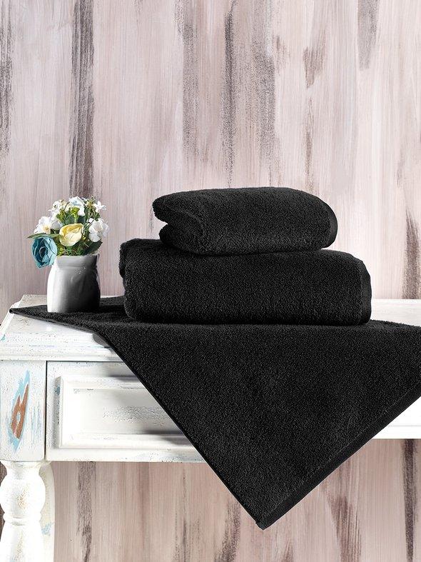 Полотенце для ванной Karna MORA микрокоттон хлопок (чёрный) 70*140, фото, фотография
