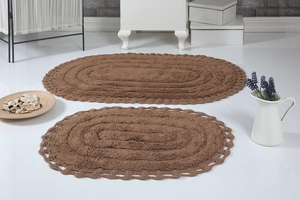 Набор ковриков для ванной Modalin YANA хлопок (горчичный), фото, фотография