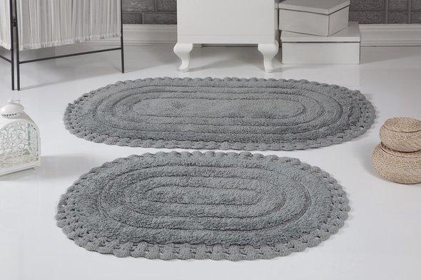 Набор ковриков для ванной Modalin YANA хлопок (серый), фото, фотография