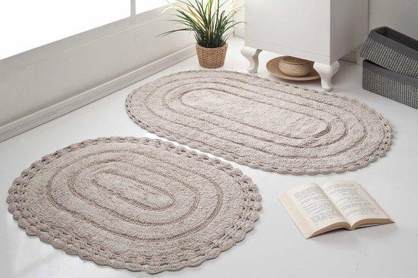 Набор ковриков для ванной Modalin YANA хлопок (экрю), фото, фотография