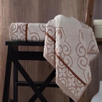 Полотенце для ванной Karna TUNUS хлопковая махра (коричневый)