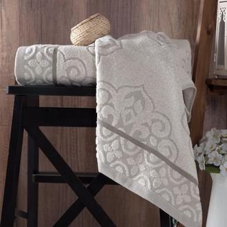 Полотенце для ванной Karna TUNUS хлопковая махра серый