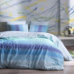 Комплект подросткового постельного белья TAC JUAN хлопковый ранфорс голубой 1,5 спальный