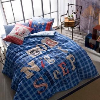 Комплект подросткового постельного белья TAC GOOD NIGHT хлопковый ранфорс (голубой)