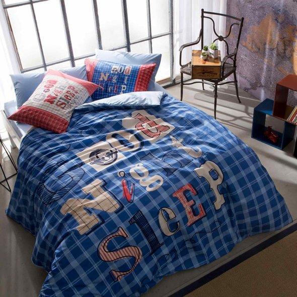 Комплект подросткового постельного белья TAC GOOD NIGHT хлопковый ранфорс (голубой) 1,5 спальный, фото, фотография