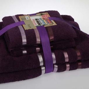 Подарочный набор полотенец для ванной Karna BALE хлопковая махра 50х80 2 шт., 70х140 2 шт. фиолетовый