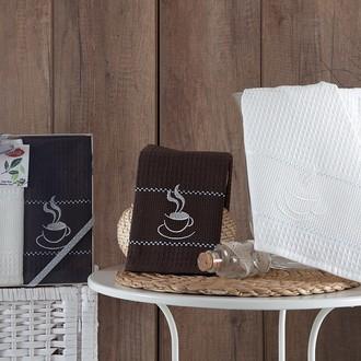 Подарочный набор полотенец для кухни 40*60(2) Karna TEA TIME хлопковая вафля (V2)