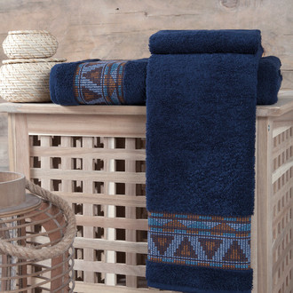 Полотенце для ванной Karna GIZA хлопковая махра (синий)