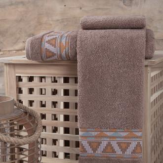 Полотенце для ванной Karna GIZA хлопковая махра (коричневый)