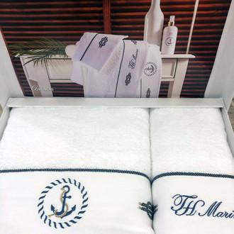 Подарочный набор полотенец для ванной 2 пр. Tivolyo Home ANCORA хлопковая махра белый