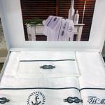 Подарочный набор полотенец для ванной 3 пр. + спрей Tivolyo Home ANCORA хлопковая махра белый, фото, фотография