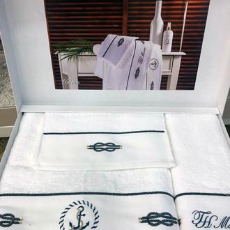 Подарочный набор полотенец для ванной 3 пр. + спрей Tivolyo Home ANCORA хлопковая махра белый