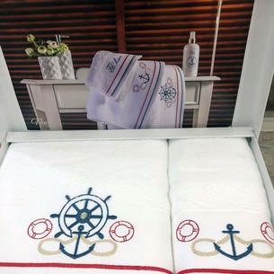 Подарочный набор полотенец для ванной 2 пр. Tivolyo Home NAVY хлопковая махра белый