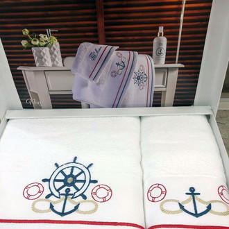 Подарочный набор полотенец для ванной 2 пр. Tivolyo Home NAVY хлопковая махра (белый)