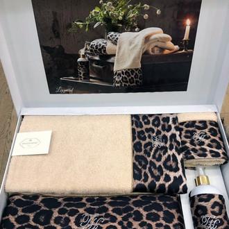 Подарочный набор полотенец для ванной 3 пр. + спрей Tivolyo Home LEOPARD хлопковая махра бежевый