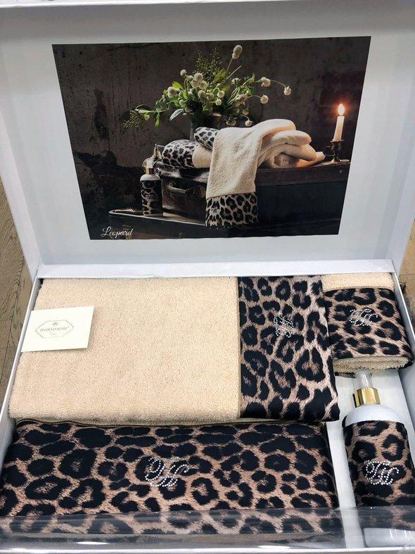 Подарочный набор полотенец для ванной 3 пр. + спрей Tivolyo Home LEOPARD хлопковая махра (бежевый), фото, фотография