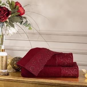 Подарочный набор полотенец для ванной 3 пр. Tivolyo Home SERENA хлопковая махра бордовый