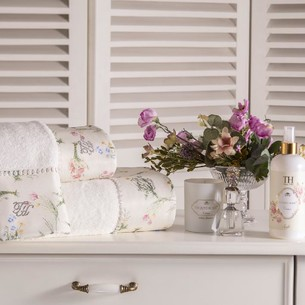 Подарочный набор полотенец для ванной 2 пр. Tivolyo Home ELENORE хлопковая махра кремовый