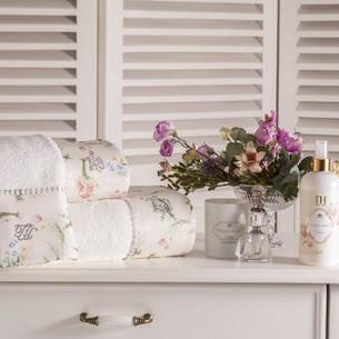 Подарочный набор полотенец для ванной 3 пр. + спрей Tivolyo Home ELENORE хлопковая махра белый