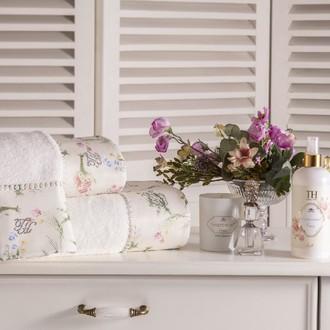 Подарочный набор полотенец для ванной 3 пр. + спрей Tivolyo Home ELENORE хлопковая махра (белый)