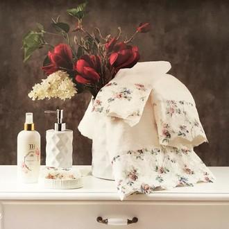 Подарочный набор полотенец для ванной 3 пр. + спрей Tivolyo Home SEVILLA хлопковая махра (кремовый)