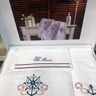 Подарочный набор полотенец для ванной 3 пр. Tivolyo Home NAVY хлопковая махра белый