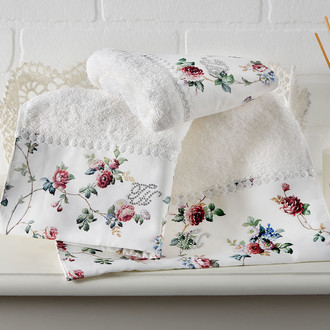 Полотенце для ванной в подарочной упаковке Tivolyo Home ROSELAND хлопковая махра кремовый
