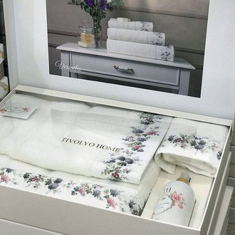 Подарочный набор полотенец для ванной 3 пр. + спрей Tivolyo Home VERSAILLES хлопковая махра (кремовый)