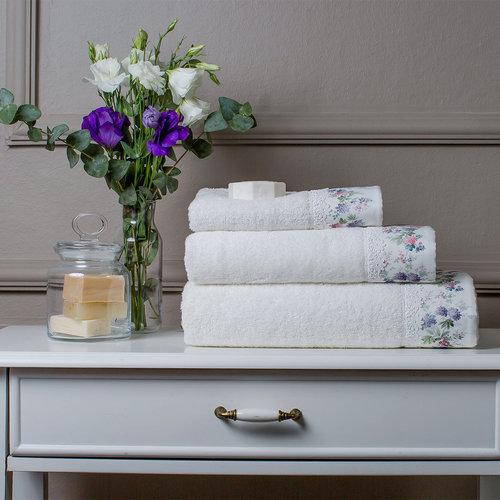 Подарочный набор полотенец для ванной 3 пр. + спрей Tivolyo Home VERSAILLES хлопковая махра кремовый, фото, фотография