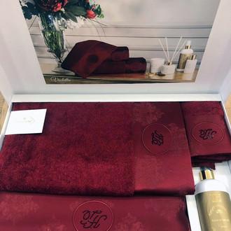 Подарочный набор полотенец для ванной 3 пр. + спрей Tivolyo Home VIOLETTA хлопковая махра бордовый