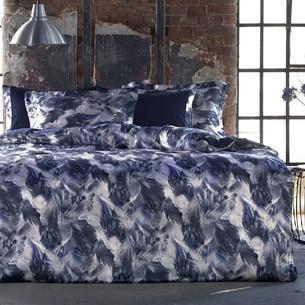 Постельное белье Tivolyo Home GENESIS сатин, жатый шёлк тёмно-синий евро