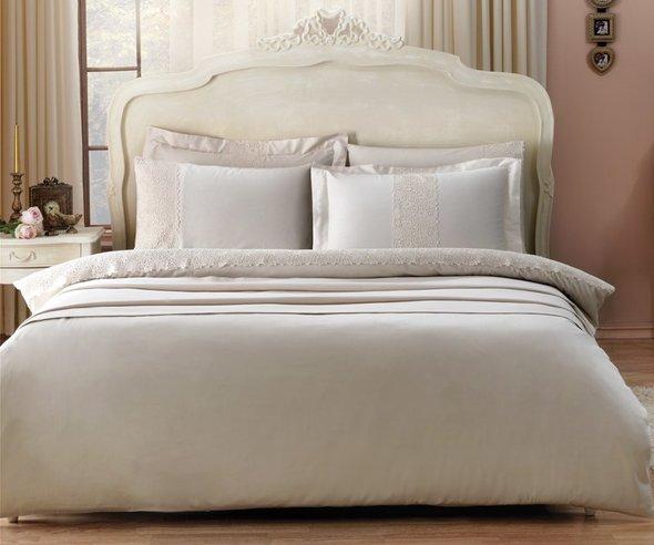 Комплект постельного белья Tivolyo Home FORZA хлопковый сатин делюкс (бежевый) семейный, фото, фотография