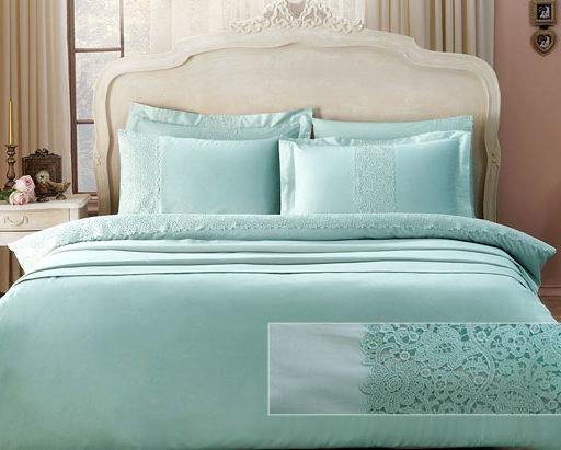 Постельное белье Tivolyo Home FORZA хлопковый сатин делюкс (бирюзовый) 1,5 спальный, фото, фотография